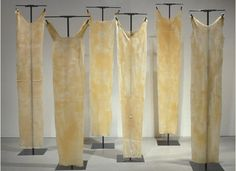 """LYSE LEMIEUX ~ """"La Réception"""" (2003) Installation 6 latex dresses each 6ft.x 2 ft x 1/8 in   Latex and steel supports   http://www.lyselemieux.com"""
