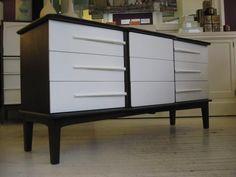 Refinished vintage mid century dresser - White