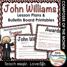 Ready to start a Composer/Musician of the Month unit but don't have a plan ready? Look no further! This awesome set on John Williams (composer of Star Wars, games theme songs, Harry Potter, and other film/movie music) is so fun for students! This set includes: • Lesson Plans covering 5 mini-lessons to presented at the beginning or