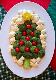 Broccoli Christmas Tree with Cherry Tomatoes Christmas Ornaments/Christmas Balls and Cauliflower Snow Background