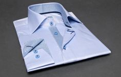 Blue Shirt with a Blue and White Checkered Lining (Double Twisted), Dress Shirts for Men at French-Shirts.com