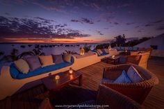 What a stunning view from Ibo Island Lodge in Mozambique. Nothing wrong with sitting here, watching the sun sink over mainland Africa, while sipping an ice cold Cities, Travel Blog, Cottages By The Sea, Out Of Africa, Destin Beach, Luxury Holidays, Outdoor Furniture Sets, Outdoor Decor, Africa