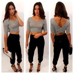 ♥@nn@b£|¥♥ stripped cropped shirt with jogger pants