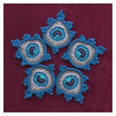 Crochet Peacock Feather Appliques / Motifs by TheCurioCraftsRoom