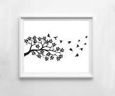 Bird tree tree minimalist art Wall art contemporary by NeoArtBook