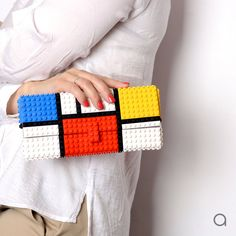 Mondrian tribute clutch made entirely of LEGO® bricks