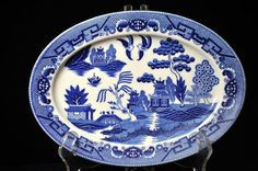Antique Blue Willow platter Vintage Blue and White platter, Made in Japan