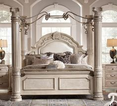 Monte Carlo II Silver Pearl Poster Canopy Beds Set by AICO Furniture