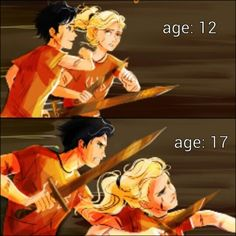"In the first one, Percy looks so excited. You can just hear him saying, ""c'mon, let's go kick some butt"". Annabeth is looking at him because she's worried that he'll leave her like all the others did and she can't go through that again. In the second picture, Percy look s more serious because he knows it's not a game anymore and Annabeth doesn't need to look at him anymore. she know's he'll be there for her."