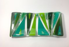 Shades of green fused glass tray by MindfulConfetti on Etsy