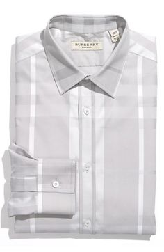 Free shipping and returns on Burberry London Tailored Fit Dress Shirt at Nordstrom.com. Fine stitching outlines a check-patterned, yarn-dyed dress shirt designed with a point collar and single-button cuffs.