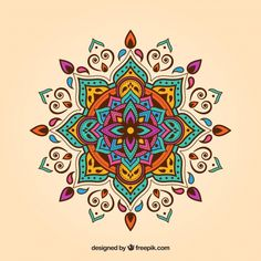 Mandala vectors, photos and psd files Mandalas Painting, Mandalas Drawing, Mandala Design, Mandala Floral, Tattoo Knee, Wall Art Designs, Design Art, Vector Design, Mandala Indiana
