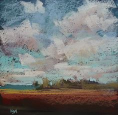MARSH Landscape contemporary  Original Pastel Painting Karen Margulis 6x6