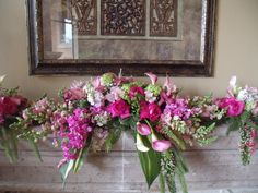 Pink and green wedding alter mantle decor
