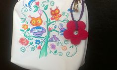 """Hand painted bag """"Happy owls"""""""