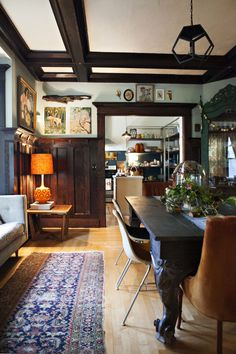 An Artistic, Colorful, Vintage-Inspired Home  palladian blue benjamin moore
