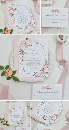 Excellent Screen geometric blooms-pink florals and geometric pattern invitation with blush shimmer laser cut fold Tips Wedding Invitation Cards-Our Methods Once the day of one's wedding is set and the Site is booked, Traditional Wedding Invitations, Creative Wedding Invitations, Personalised Wedding Invitations, Laser Cut Wedding Invitations, Pink Invitations, Watercolor Wedding Invitations, Floral Invitation, Floral Wedding Invitations, Wedding Invitation Cards