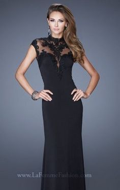 Sheer Lace Black Evening Dress by La Femme 20650