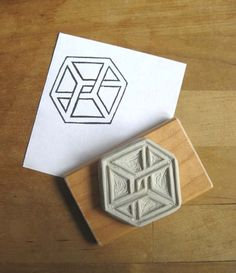 Impossible Cube / Impossible Object - Hand Carved Stamp.