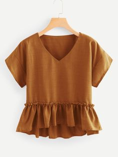 Shein V Neck Frill Trim Pep Hem Blouse - Shop V Neckline Frill Trim Pep Hem Blouse online. SheIn offers V Neckline Frill Trim Pep Hem Blouse & more to fit your fashionable needs. Source by makenna_marr - Mode Outfits, Fall Outfits, Summer Outfits, Casual Outfits, Fashion Outfits, Womens Fashion, Trendy Fashion, Fashion Styles, Dressy Tops