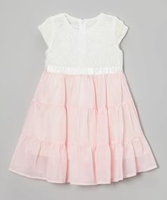 Loving this White & Pink Rosette Ruffle Babydoll Dress - Toddler & Girls on #zulily! #zulilyfinds