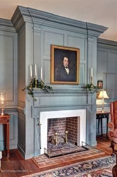 FARMHOUSE – INTERIOR – a classic colonial fireplace that can be found in many federal and georgian styled farmhouses. Primitive Homes, Fireplace Design, Fireplace Mantels, Fireplace Ideas, Mantle, Corner Fireplaces, Fireplace Fronts, Brick Fireplace, Style At Home
