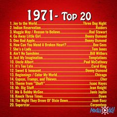 1971 being my birth year and every one of these songs have a memory I can recollect. Donny Osmond had a banner year. My Childhood Memories, Sweet Memories, 1970s Childhood, Childhood Toys, Playlists, Alphaville Forever Young, Three Dog Night, Mending A Broken Heart, She's A Lady