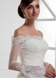 Glamorous Tulle Off-the-shoulder Poet Long Sleeves Bridal Jacket /  Wedding Wrap With Lace Appliques