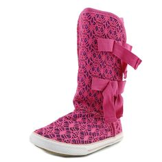 "Volatile Girls Shimmer Sneaker Boots (1 Big Kids, Fuchsia Pink). The style name is Shimmer. The style number is SHIMMER-FUS. Brand Color: Fuchsia (Main Color: Pink). Material: Sequin. Measurements: Shaft measures 9"", Circumference measures 11"" and 0.75"" heel. Width: M (Y)."