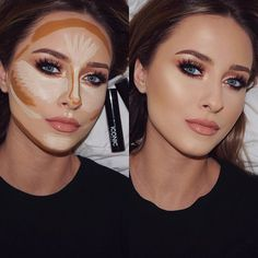 This is my Contour & Highlight Routine for when I wanna look SNATCHED 🔪 I use. - make up - Contouring Contouring Makeup, Contouring And Highlighting, Skin Makeup, Contour Makeup Products, Makeup Brushes, Blue Makeup, Eyebrow Makeup, Strobing, Beauty Products