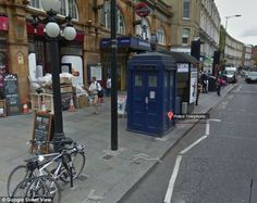 """Police Box Replica outside Earl's Court Underground Station, London (and you can """"tour"""" the inside on Google Maps)"""