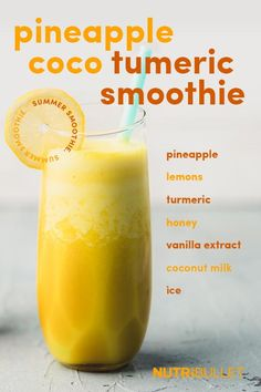 Pineapple Coco Turmeric Smoothie The best way to describe this NutriBullet smoothie is to liken it to a creamy, tropical lemonade! Turmeric Smoothie, Juice Smoothie, Smoothie Drinks, Healthy Juices, Healthy Smoothies, Healthy Drinks, Ninja Smoothie Recipes, Tropical Smoothie Recipes, Healthy Food