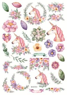 Items similar to Uncut Hand Drawn Unicorn Decorative Sticker ~ Unicorn Stickers, Floral Stickers, Scrapbooking Supplies, Planner Stickers, Stationery DIY on Etsy Tumblr Stickers, Cute Stickers, Free Printable Stickers, Kawaii Stickers, Vintage Scrapbook, Diy Scrapbook, Journal Stickers, Scrapbook Stickers, Frida Art