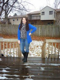 Just Another Smith: #16 - cobalt blue boyfriend cardigan, black/white polka dot scarf, black/white striped tee, skinny jeans, black boots
