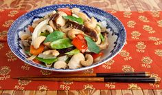 Thai Chicken Stir-Fry - An aromatic, savoury stir-fry that's full of flavour and served with rice noodles.