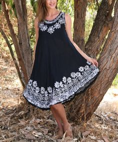 Take a look at the Black Floral Embroidered Sleeveless Dress on #zulily today!