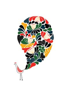 A Little flower Peacock Art Print WINTER Bird - Animal Illustration - Pop Art - Pattern - Wall Art - Graphic Design - Color - Love - Heart by dekanimal, $15.00