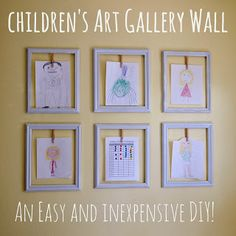 Kids Artwork Display Ideas – Easy Ideas for Displaying Kids Art school year) Childrens' Art Gallery Wall – This kids artwork display idea is a quick, easy, and inexpensive DIY solution to display (and rotate) children's ever growing collection of art. Displaying Kids Artwork, Artwork Display, Display Wall, Hanging Artwork, Display Boards, Artwork Wall, Wall Collage, Diy For Kids, Crafts For Kids