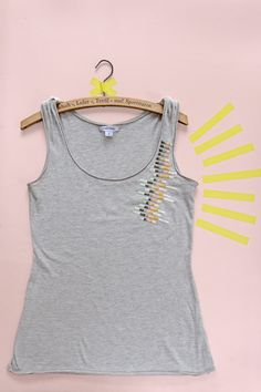 Karen Barbé - Tutorial for Kireei magazine on her blog shows how to embroider simple stripes to embellish tank top