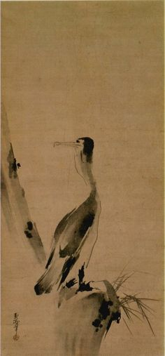 """Cormorant"" by MIYAMOTO Musashi Important Cultural Property of Japan 宮本武蔵「鵜図」 紙本墨画 重要文化財: Musashi was a most famous Japanese swordsman but he's also talented as an artist. Japanese Ink Painting, Sumi E Painting, Korean Painting, Japan Painting, Chinese Painting, Japanese Prints, Japanese Art, Artist And Craftsman, Japanese Aesthetic"
