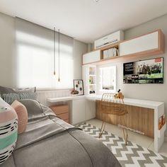 Interior Design and Home Decor Ideas Girl Bedroom Designs, Room Ideas Bedroom, Small Room Bedroom, Bedroom Decor, Master Bedroom, Bedroom Office, Trendy Bedroom, Home Office Design, House Design