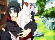 Sasuke in the back thinking itachi what r u doing to the chickens