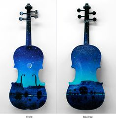Nocturne - Painted violins by Tom Perkinson and donated to the 2012 fundraising event FanFare for the Santa Fe Symphony and Chorus.  FanFare funds music programs for New Mexico's public school students.