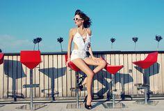 Sheinside Swimsuit, Sheinside Shorts, Le Specs Sunnies, Bronzallure Watch