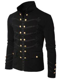 Doublju Mens Jacket with Button Detail BLACK (US-L)