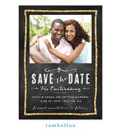 Glitter Chalkboard Digital Photo Save The Date Magnet | The Keeping Room