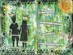 Blue Moon Journaling: Acrylic paints, stencil, washi tape, collage