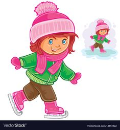 Small girl ice skating vector image on (With images) Winter Activities For Kids, Toddler Activities, Christmas Yard Decorations, Christmas Crafts, Crochet Towel, Montessori Toddler, Winter Wonder, Christmas Illustration, Ice Skating