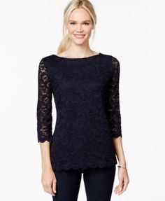 Charter Club Lace Boat-Neck Top, Only at Macy's