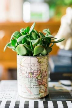 Map-Wrapped Planter: Give a tin can an Old World update in minutes. Here's how: Cut a paper map to size, adhere it to the outside of a can with spray adhesive and fill the inside with a low-maintenance plant, such as a small fern or a succulent.
